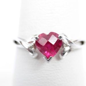 10K White Gold Ruby Diamond Ring Sz 7.75 - 1.5g
